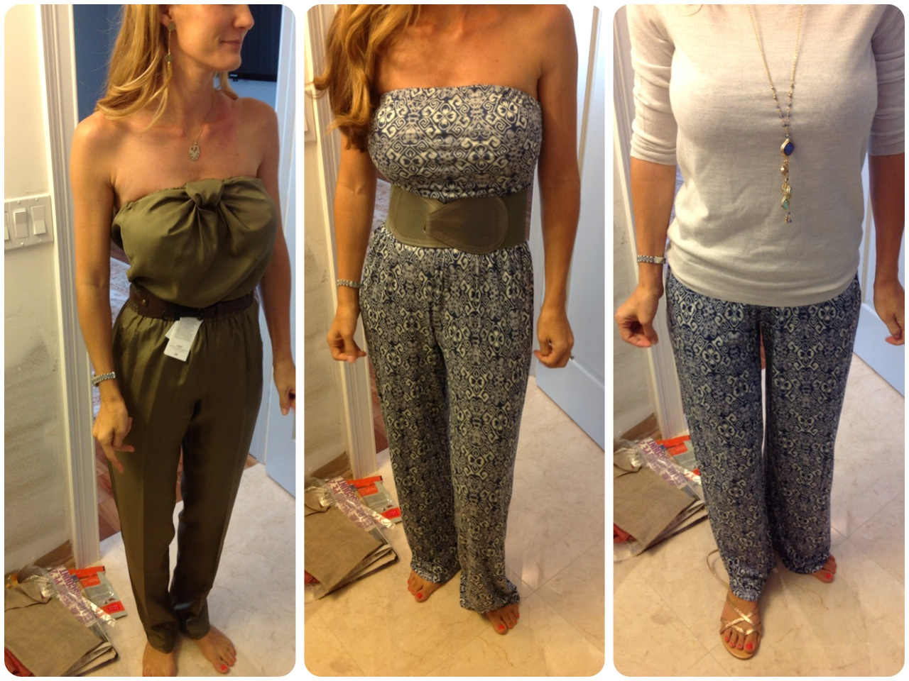 from left to right: olive green jumpsuit with detail along the top, blue patterned jumpsuit with matte grey and silver detail, same blue jumpsuit with cream sweater and long necklace