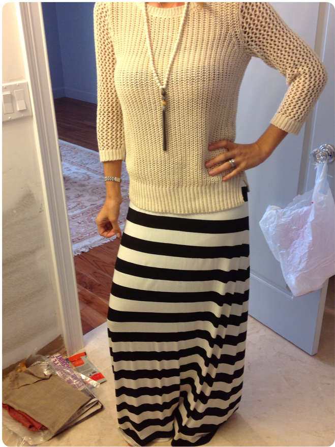 black and white striped maxi with fitted sweater and long necklace