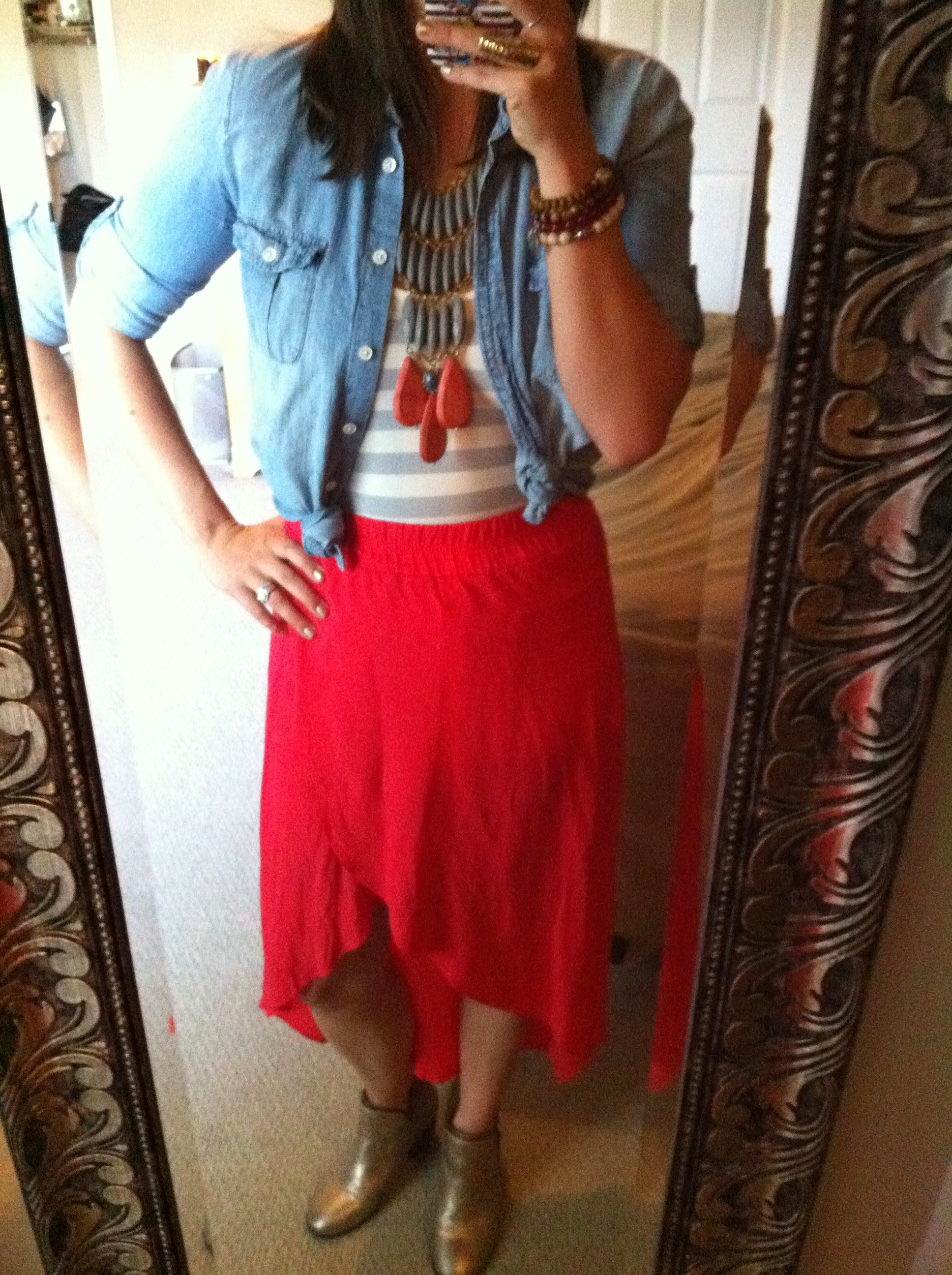 ootd red splendid tulip skirt light denim chambray david aubrey statement necklace striped tank gold boots