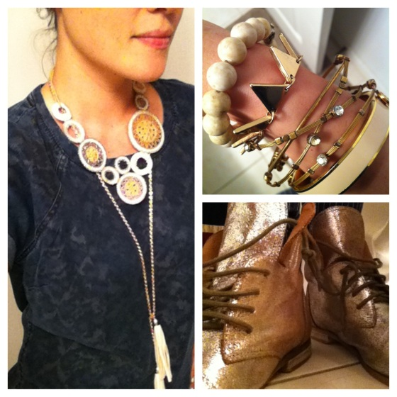 chambray shirt bangles silver boots circle statement necklace