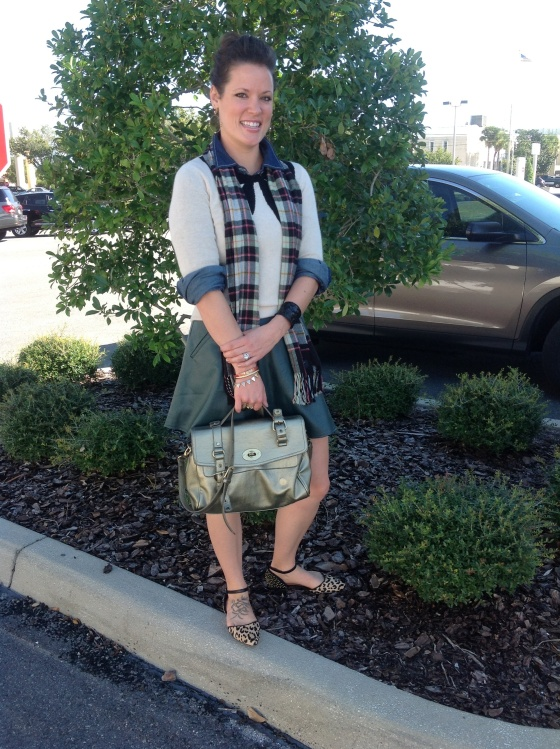 denim shirt with jcrew cream bow sweater forest green circle skirt leopard flats gold handbag