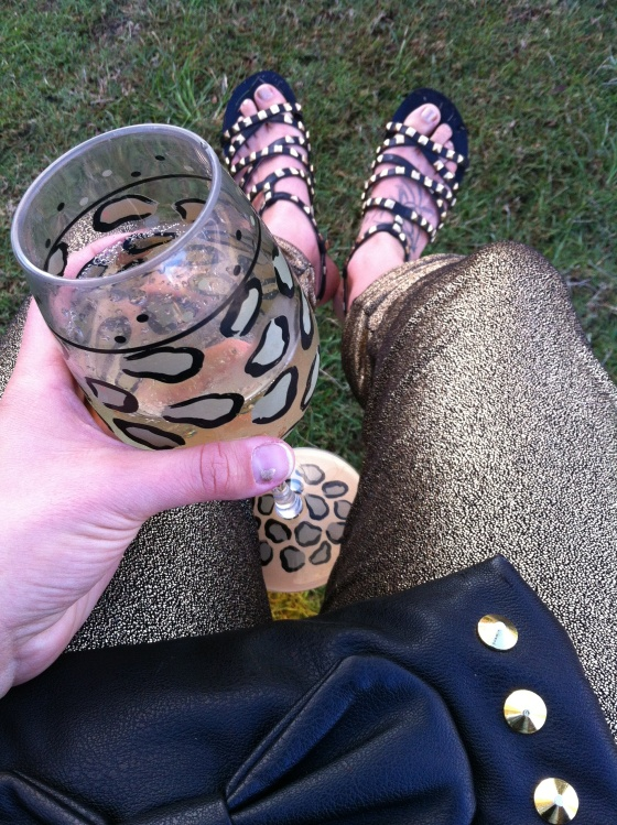 dolce vita gold studded sandals gold harem pants leopard wine glass