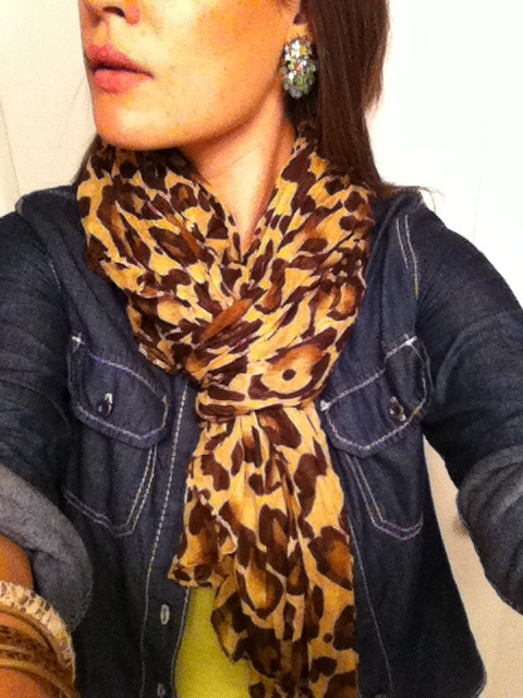 vintage earrings leopard print scarf denim shirt green tank