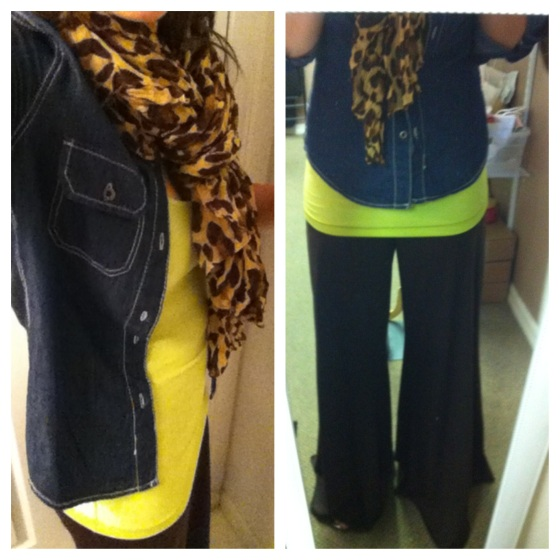 wide leg pants leopard scarf denim shirt tree frog green tank