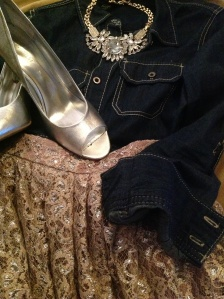 chambray with gold lace high-waist skirt silver heels and silver and crystal statement necklace