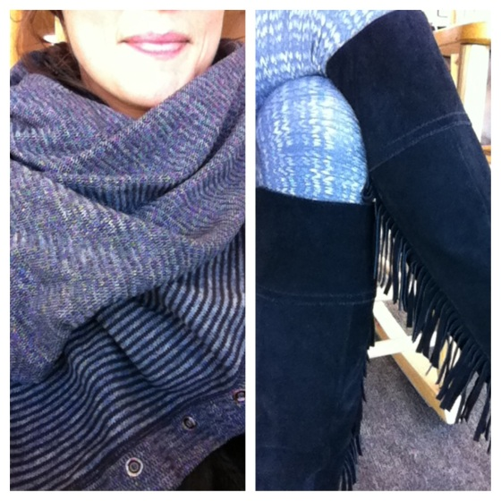 aotd vinyasa scarf leggings and black fringe boots