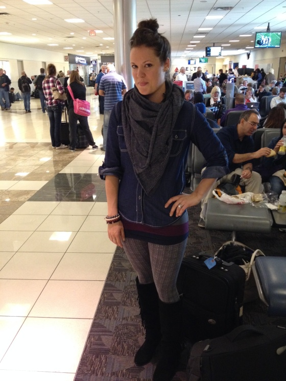 vinyasa scarf denim shirt grey leggings and black fringe boots