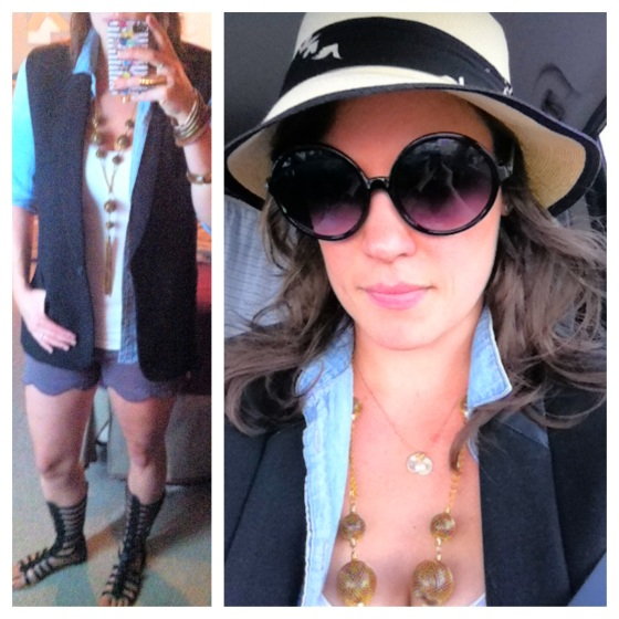 iris apfel inspired black sunglasses fedora black vest light denim chambray shirt