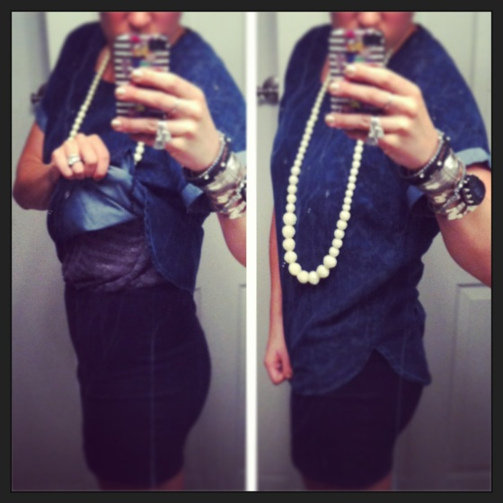 striped dress with denim short-sleeved shirt carved beads necklace cuff bracelets