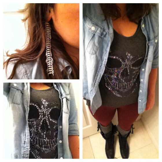 sparkle skull shirt light denim chambray bordeux leggings