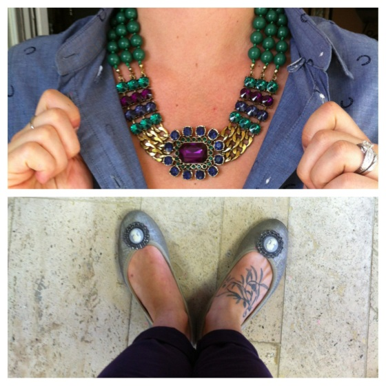 jewel tone statement necklace lindsay phillips ballet flats cameo snaps