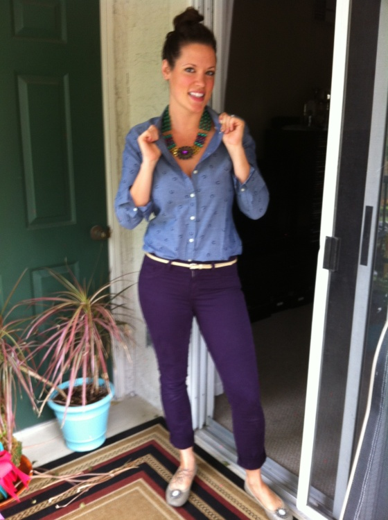 anthropologie purple skinny jeans with thin oatmeal colored belt and horseshoe print shirt jewel-tone statement necklace