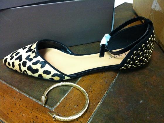 renvy leopard ballet flats spiked gold cuff
