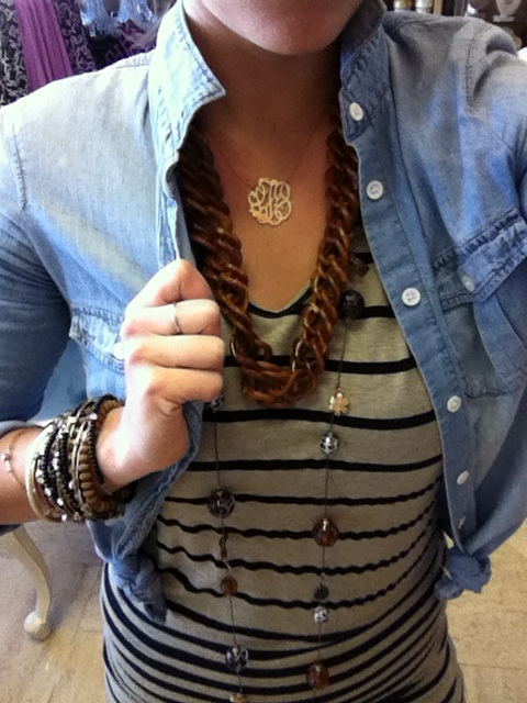 tortoise shell necklace bestsey johnson necklace gold monogram bracelets striped dress light denim chambray