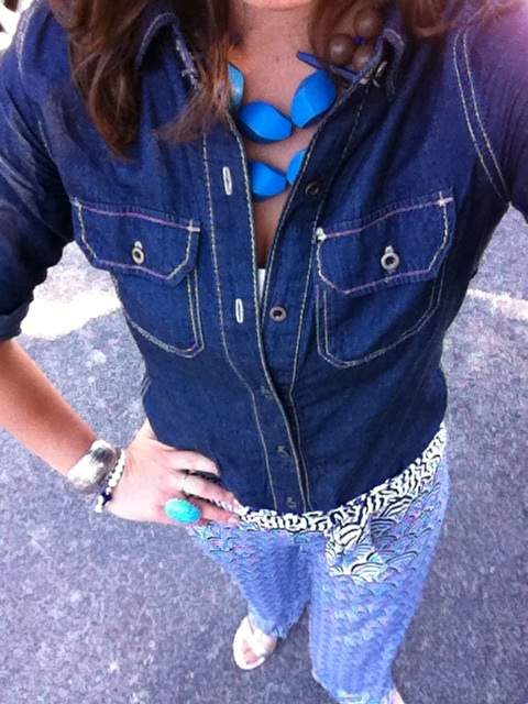 denim shirt geometric print palazzo pants david aubrey necklace turquoise cocktail ring