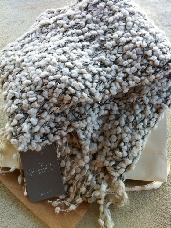 fluffy Anthropologie scarf with sequins