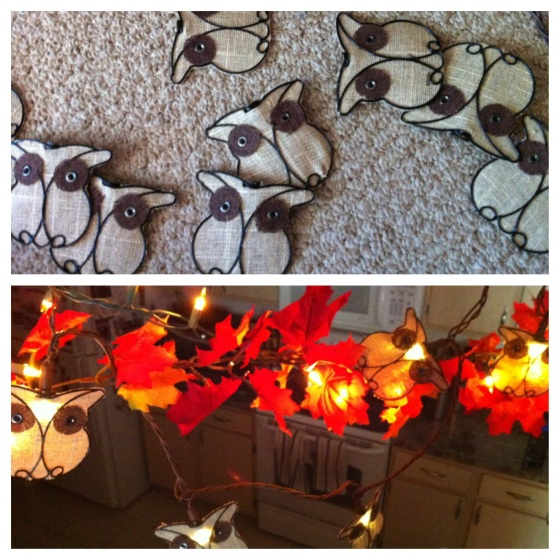 fall decor using burlap owl string lights