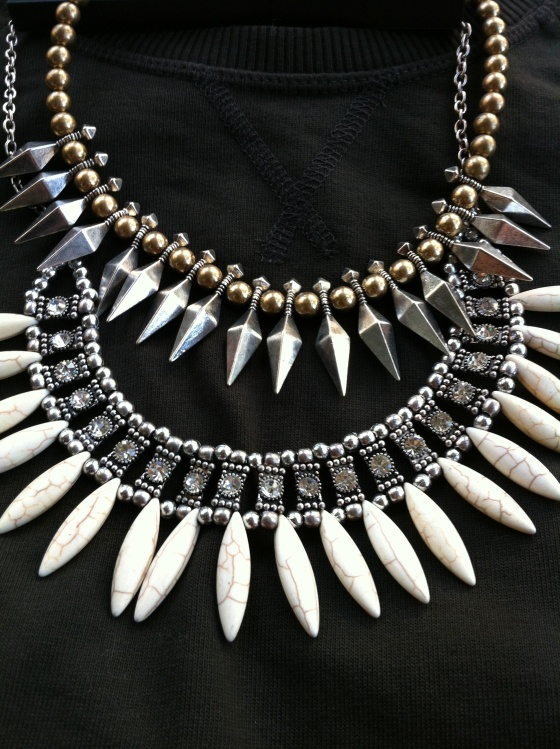 spiked necklaces from H&M stacked to create a bigger statement piece