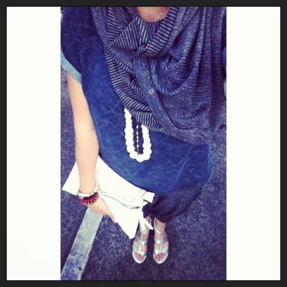 Leah Lou chambray styling with harem crops silver sandals white skull clutch and striped vinyasa scarf