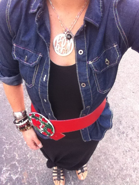 Denim shirt and maxi dress with vintage red belt and silver monogram necklace