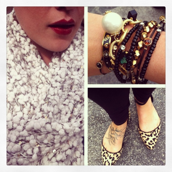 fuzzy scarf bold red lip bracelet stack and leopard flats