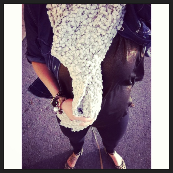 cozy sparkle scarf with bronze tank and leopard flats