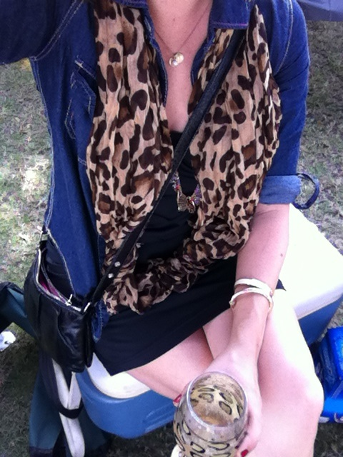 tailgate look: leopard scarf of denim shirt and black dress