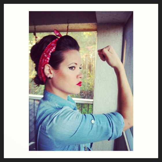 Rosie the Riveter halloween costume using red bandana and denim shirt
