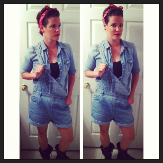Rosie the Riveter Halloween costume with a chambray shirt, red bandana, and combat boots