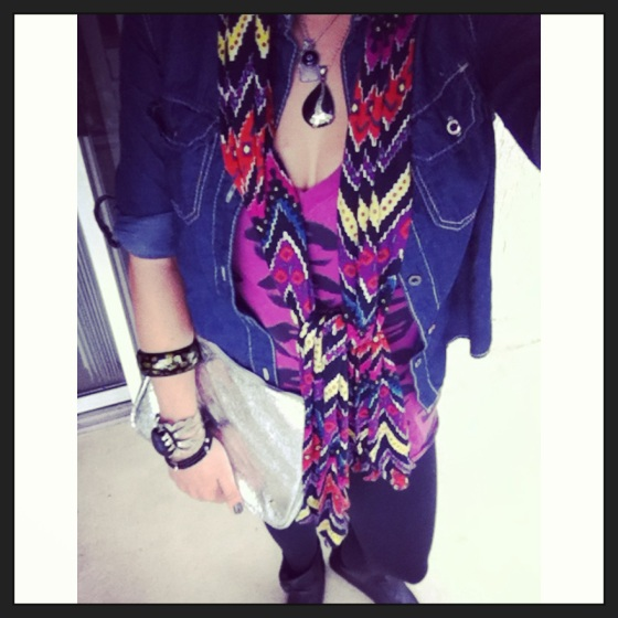 tribal print scarf with fuchsia accents and silver accessories