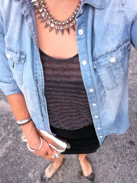 grey striped dress with light denim chambray and spiked necklace